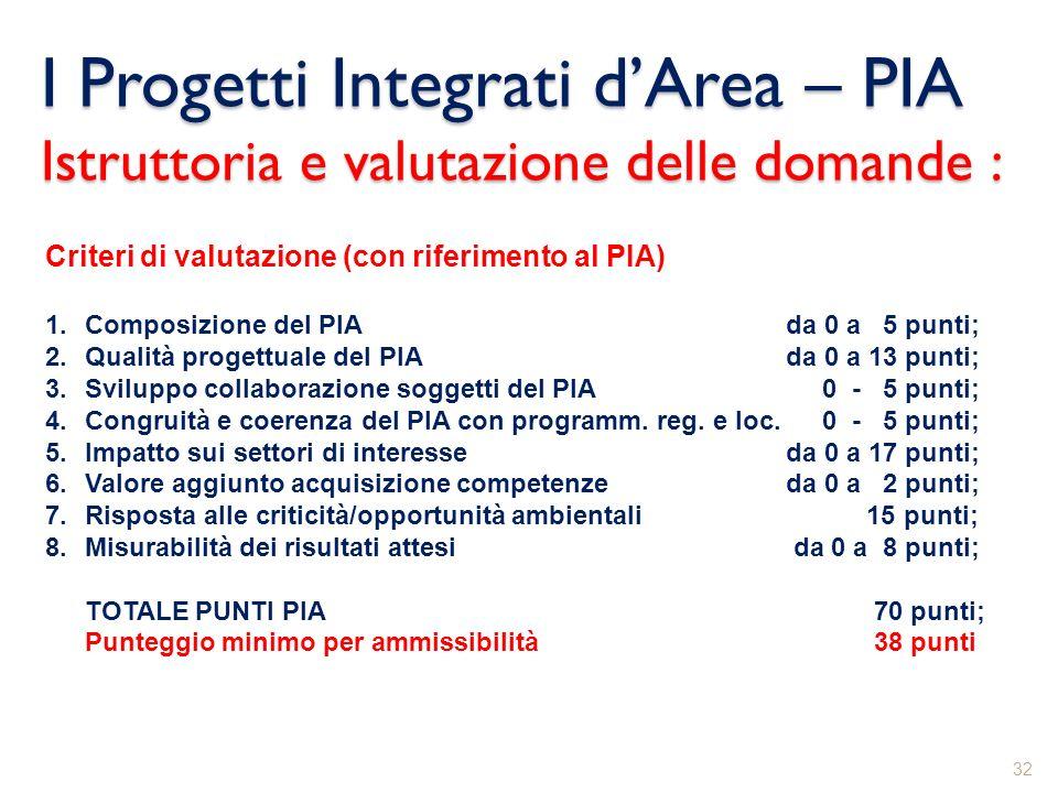I Progetti Integrati d'Area – PIA Istruttoria e valutazione delle domande :