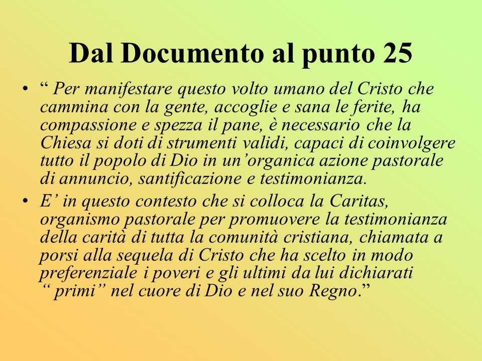 Dal Documento al punto 25