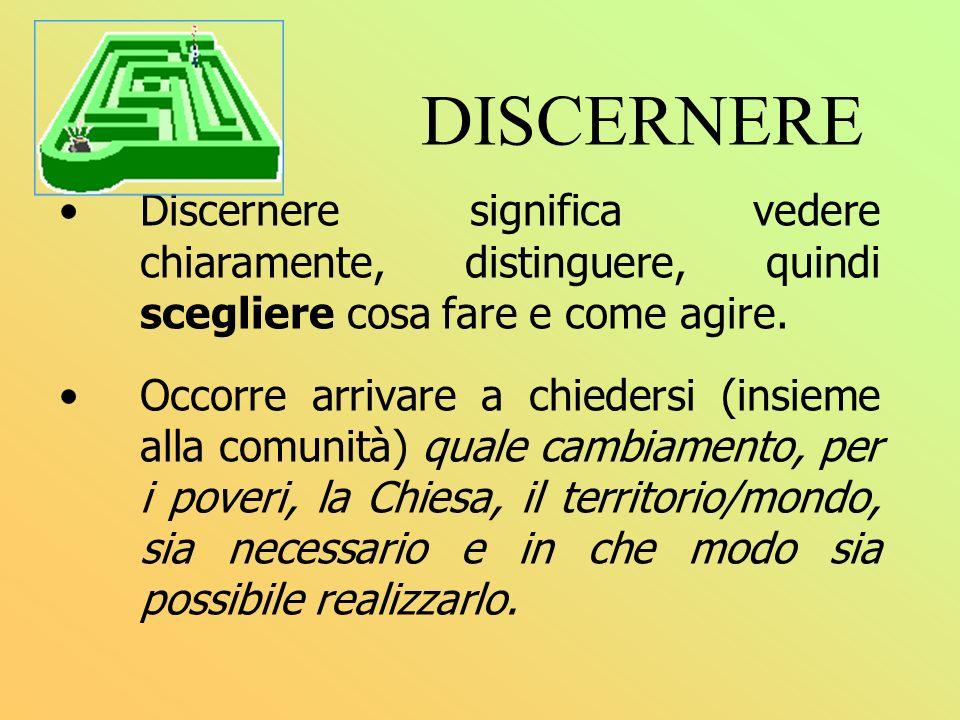 DISCERNERE Discernere significa vedere chiaramente, distinguere, quindi scegliere cosa fare e come agire.
