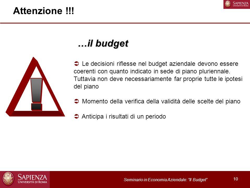 Attenzione !!! …il budget.