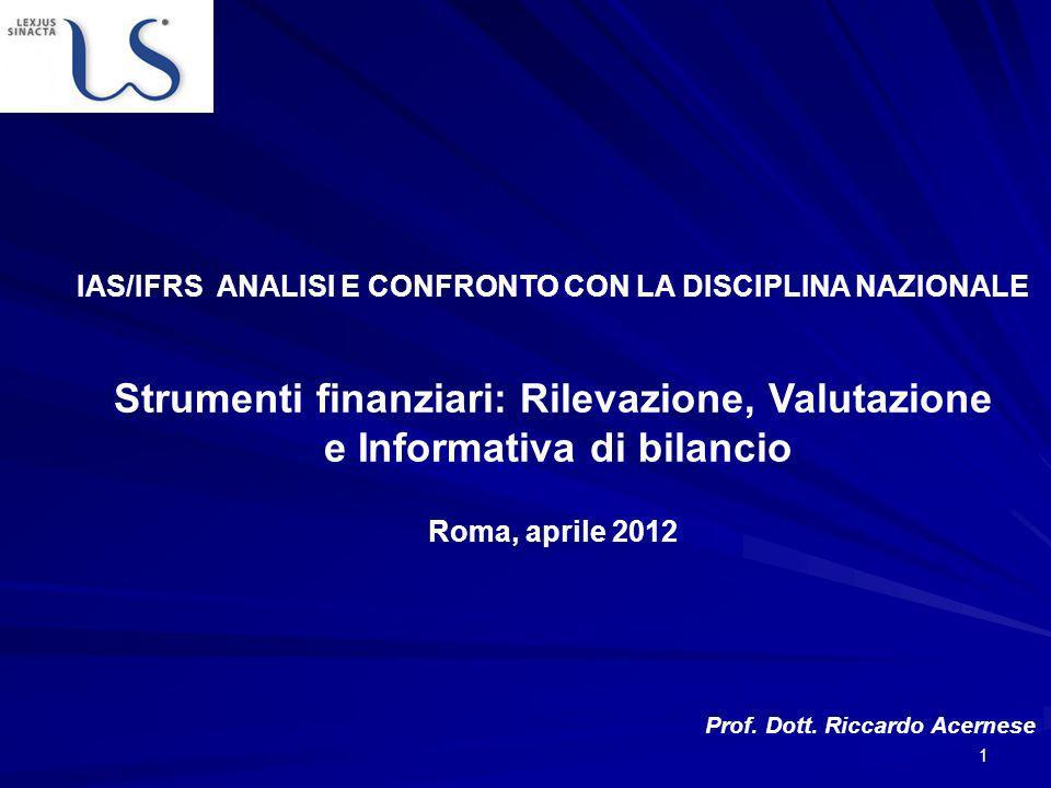 Strumenti finanziari: Rilevazione, Valutazione
