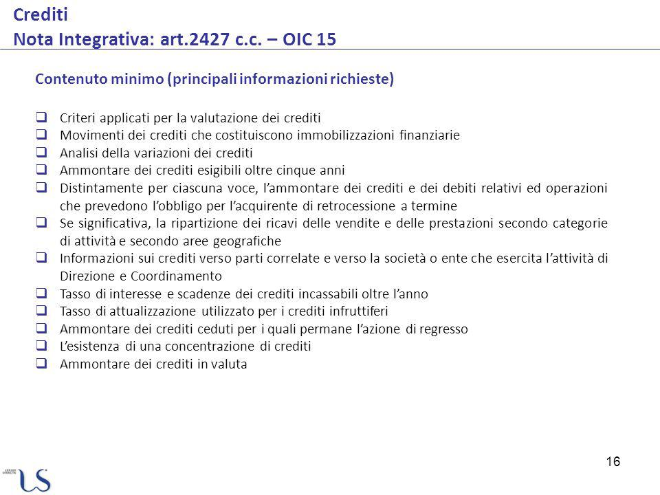 Crediti Nota Integrativa: art.2427 c.c. – OIC 15
