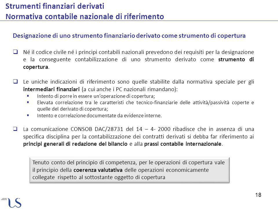 Strumenti finanziari derivati Normativa contabile nazionale di riferimento