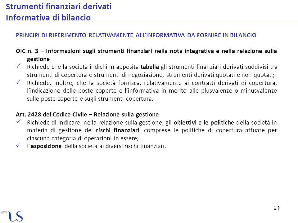 Strumenti finanziari derivati Informativa di bilancio