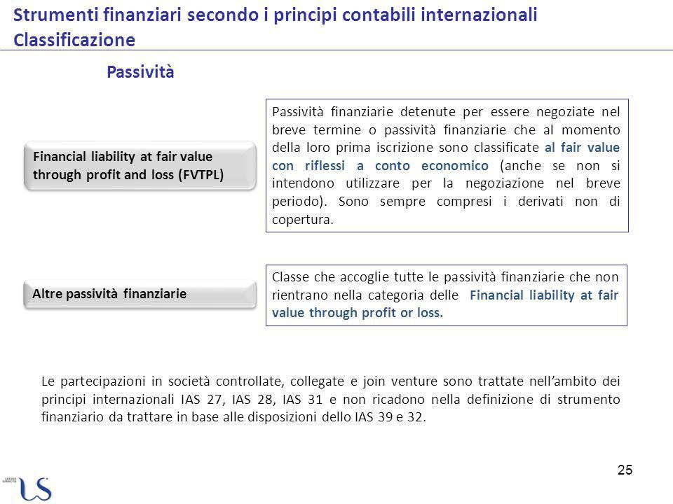Strumenti finanziari secondo i principi contabili internazionali Classificazione