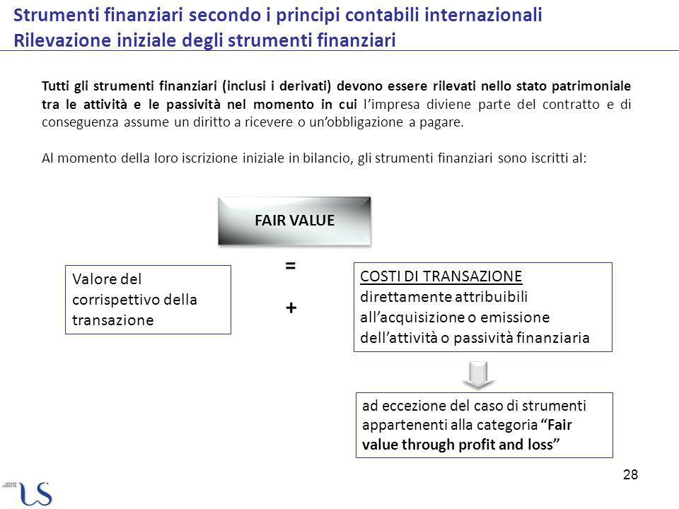 Strumenti finanziari secondo i principi contabili internazionali Rilevazione iniziale degli strumenti finanziari