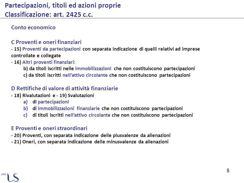 Partecipazioni, titoli ed azioni proprie Classificazione: art. 2425 c