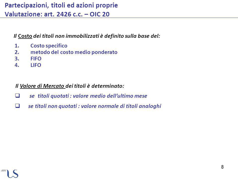 Partecipazioni, titoli ed azioni proprie Valutazione: art. 2426 c. c