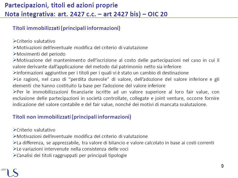 Partecipazioni, titoli ed azioni proprie Nota integrativa: art. 2427 c