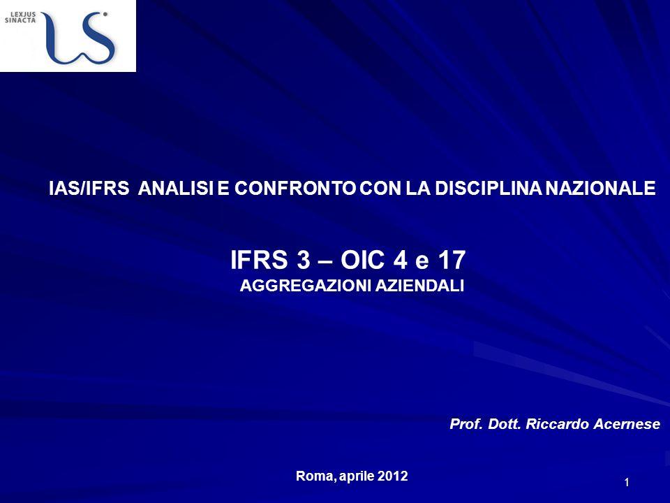 IAS/IFRS ANALISI E CONFRONTO CON LA DISCIPLINA NAZIONALE