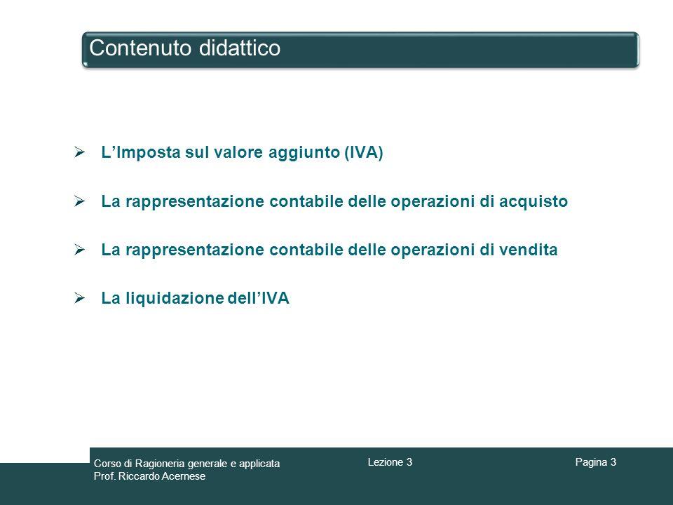 Contenuto didattico L'Imposta sul valore aggiunto (IVA)