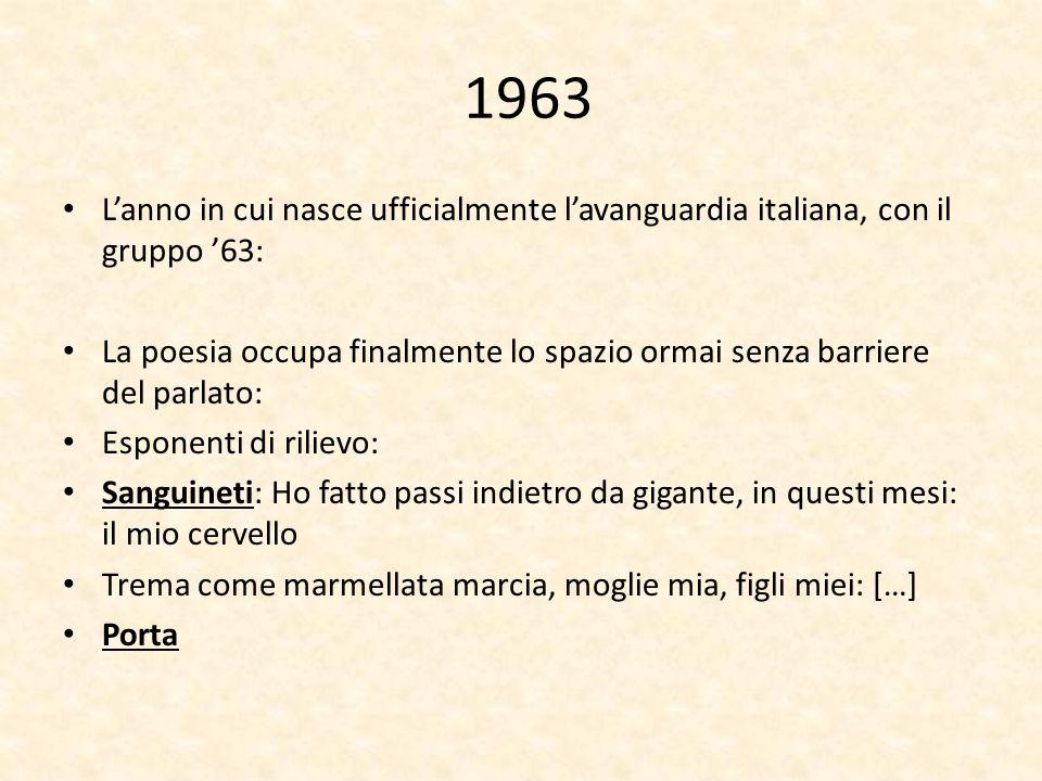1963L'anno in cui nasce ufficialmente l'avanguardia italiana, con il gruppo '63: