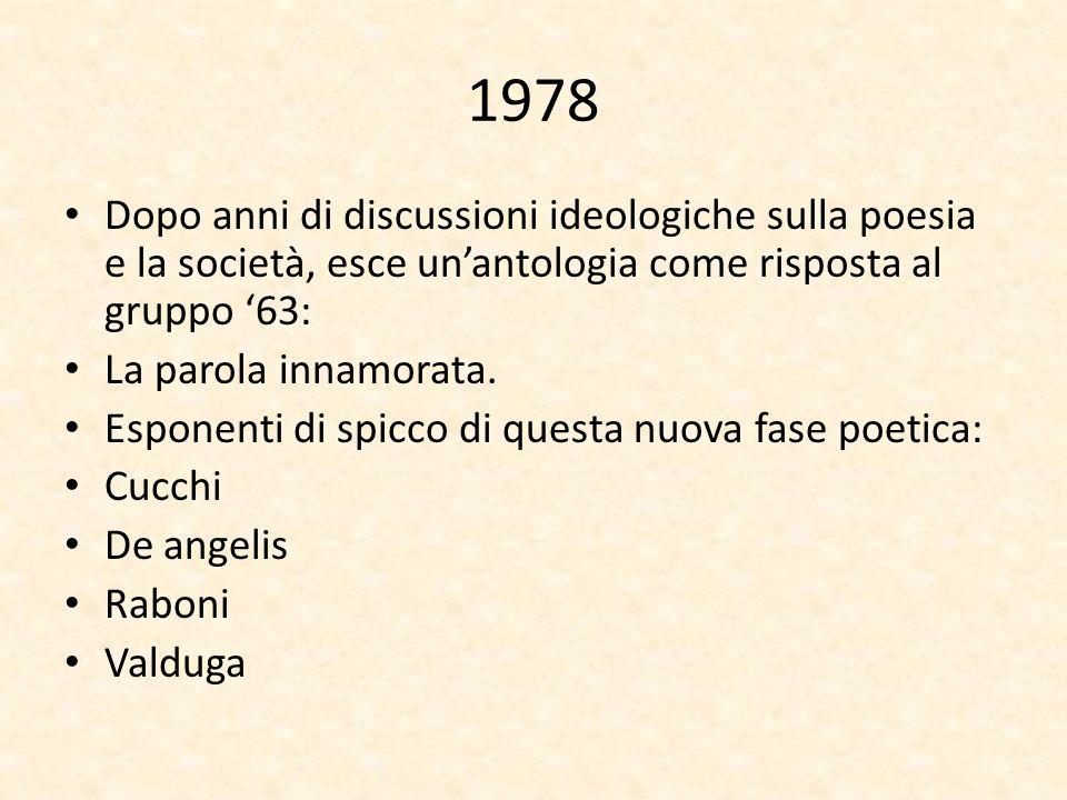 1978Dopo anni di discussioni ideologiche sulla poesia e la società, esce un'antologia come risposta al gruppo '63: