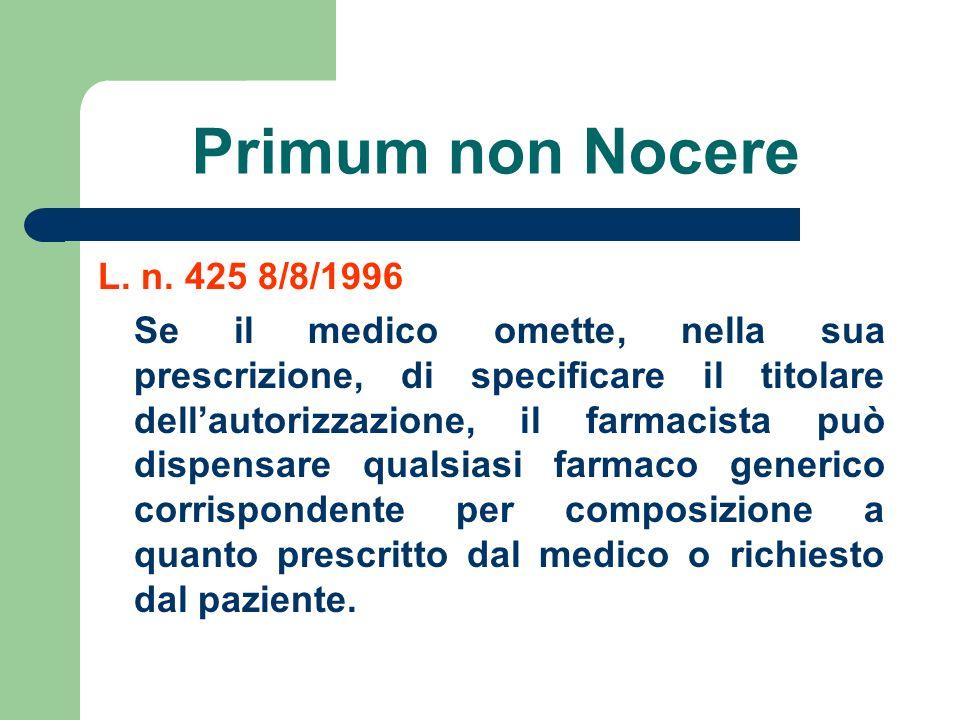 Primum non Nocere L. n. 425 8/8/1996.