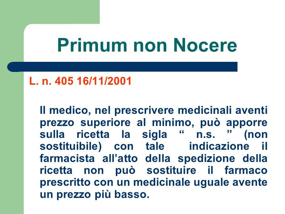 Primum non Nocere L. n. 405 16/11/2001.