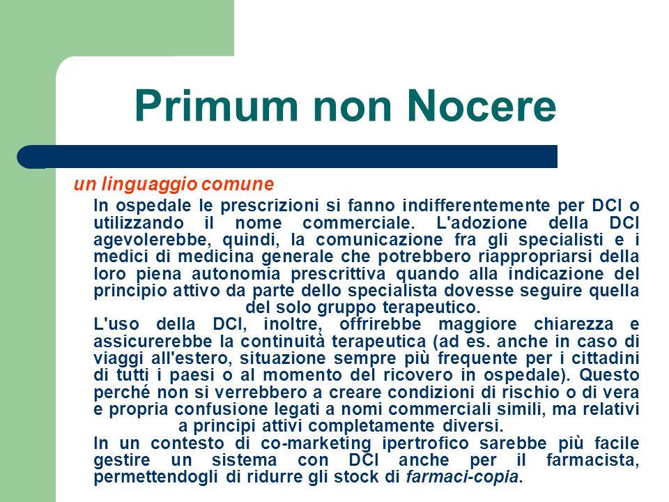 Primum non Nocere un linguaggio comune