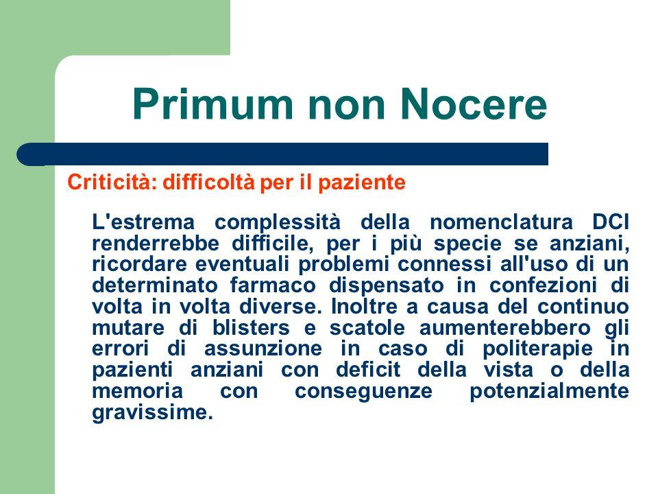 Primum non Nocere Criticità: difficoltà per il paziente