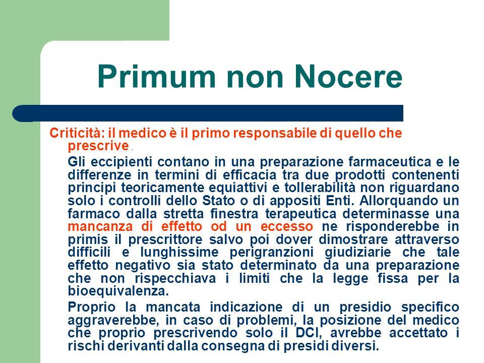 Primum non Nocere Criticità: il medico è il primo responsabile di quello che prescrive .
