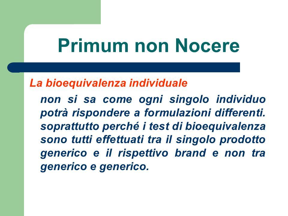 Primum non Nocere La bioequivalenza individuale