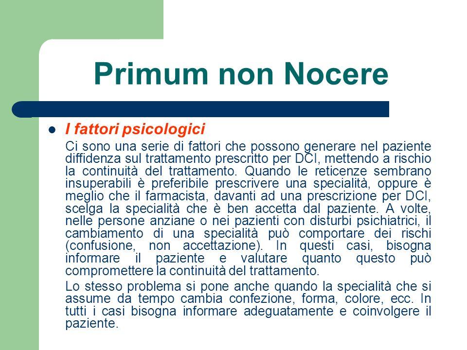 Primum non Nocere I fattori psicologici