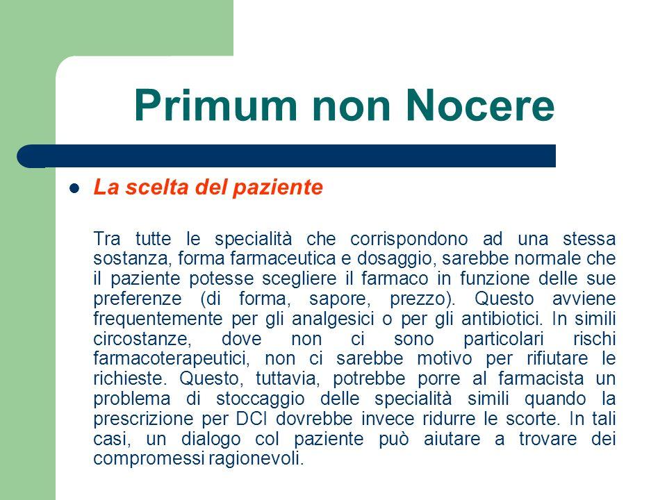Primum non Nocere La scelta del paziente
