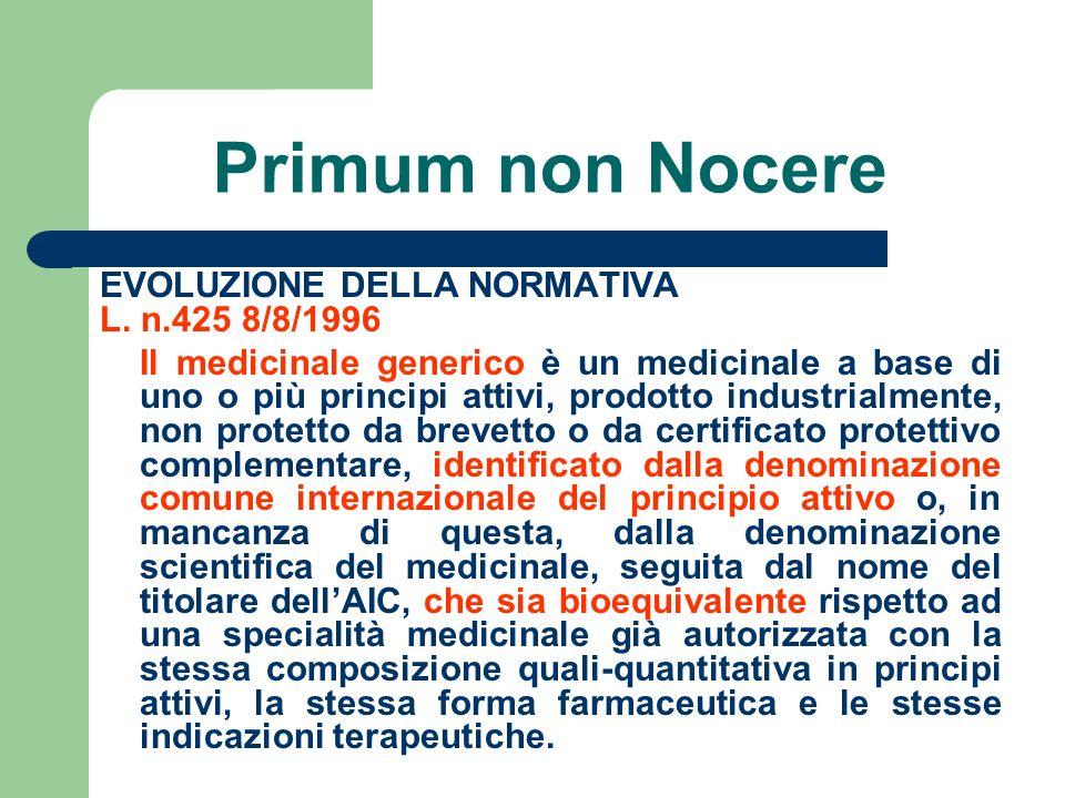 Primum non Nocere EVOLUZIONE DELLA NORMATIVA L. n.425 8/8/1996