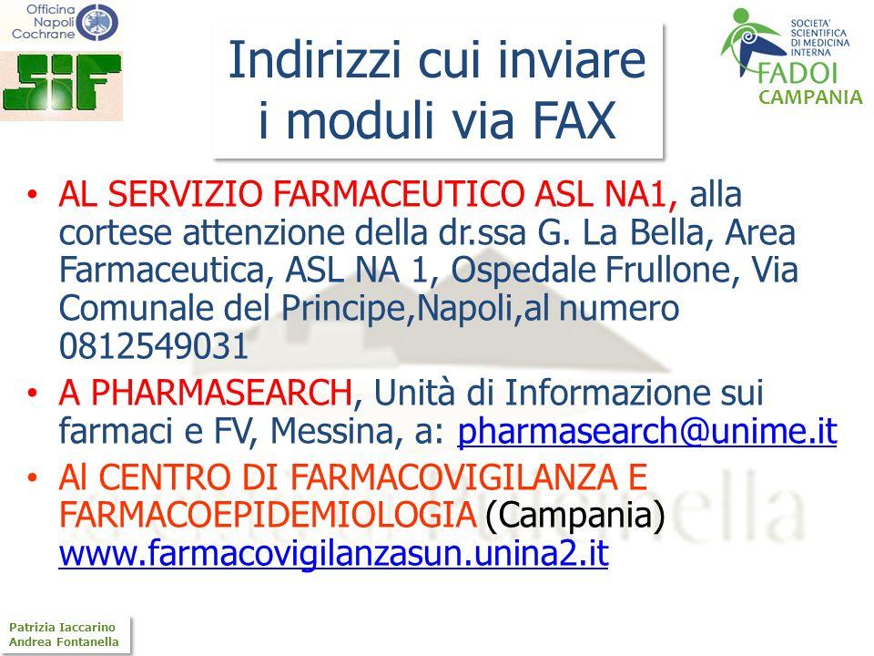 Indirizzi cui inviare i moduli via FAX
