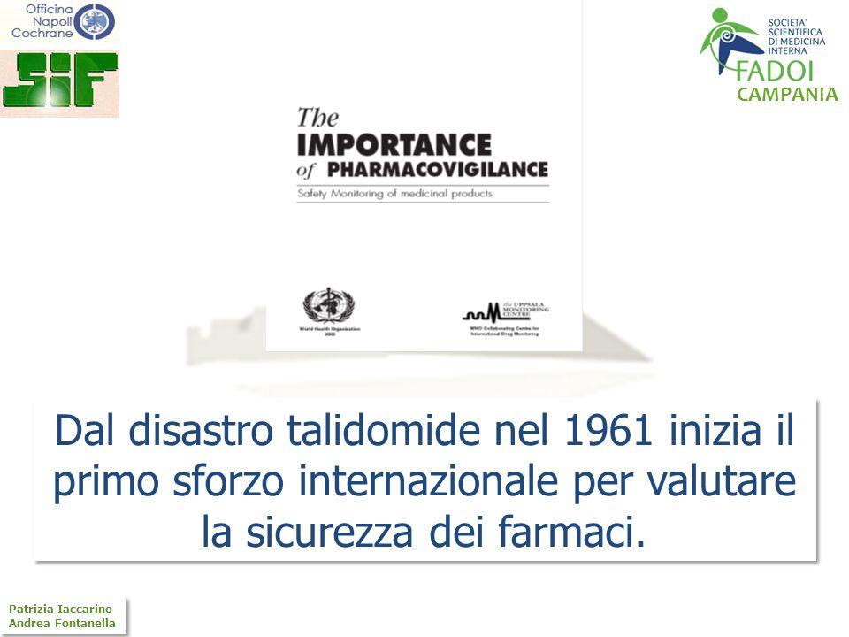Dal disastro talidomide nel 1961 inizia il primo sforzo internazionale per valutare la sicurezza dei farmaci.