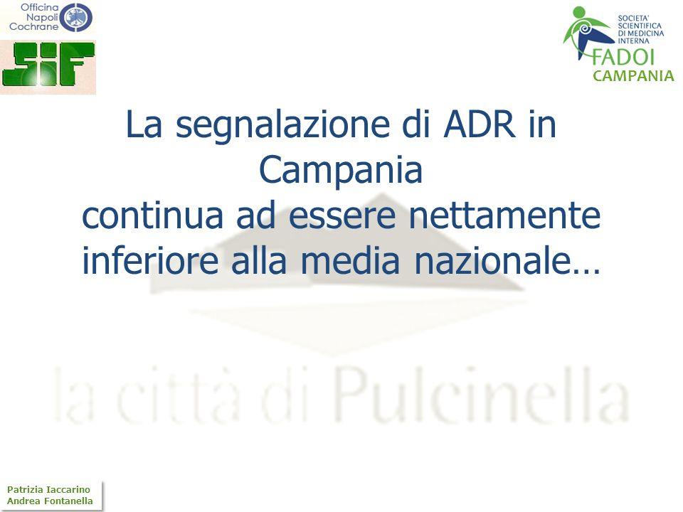 La segnalazione di ADR in Campania continua ad essere nettamente inferiore alla media nazionale…