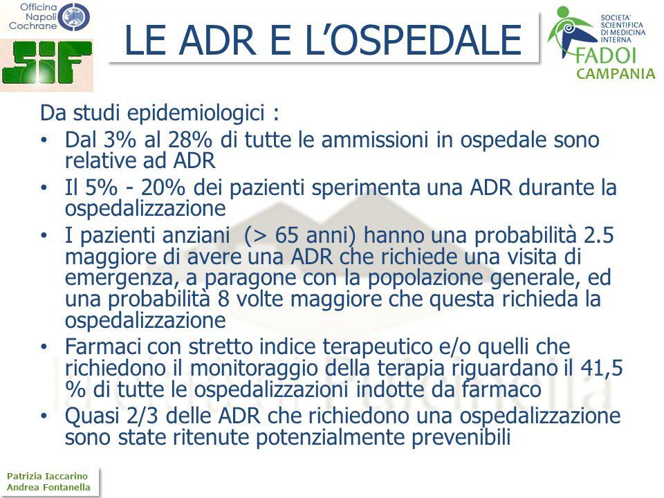 LE ADR E L'OSPEDALE Da studi epidemiologici :