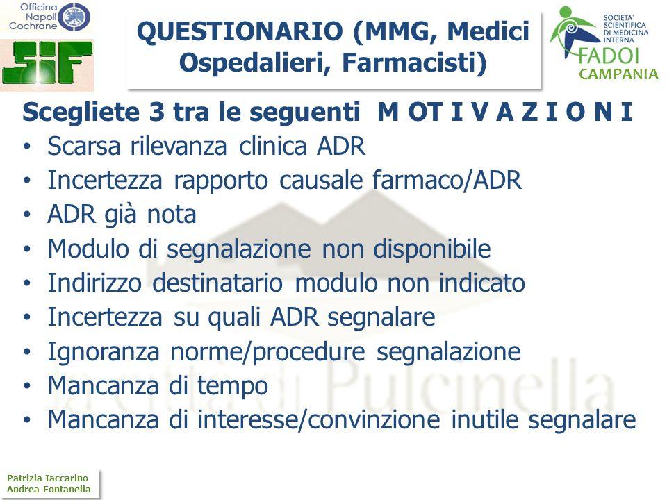 QUESTIONARIO (MMG, Medici Ospedalieri, Farmacisti)