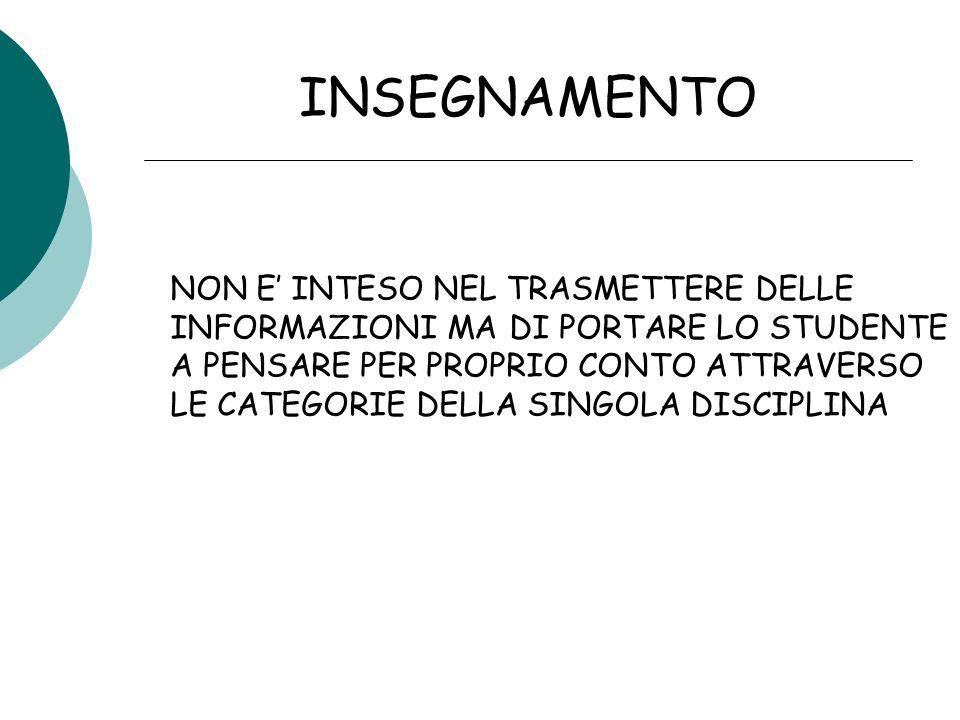 INSEGNAMENTO NON E' INTESO NEL TRASMETTERE DELLE