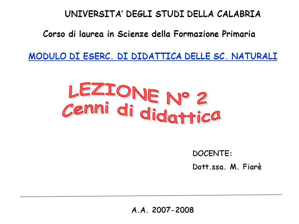 LEZIONE N° 2 Cenni di didattica UNIVERSITA' DEGLI STUDI DELLA CALABRIA