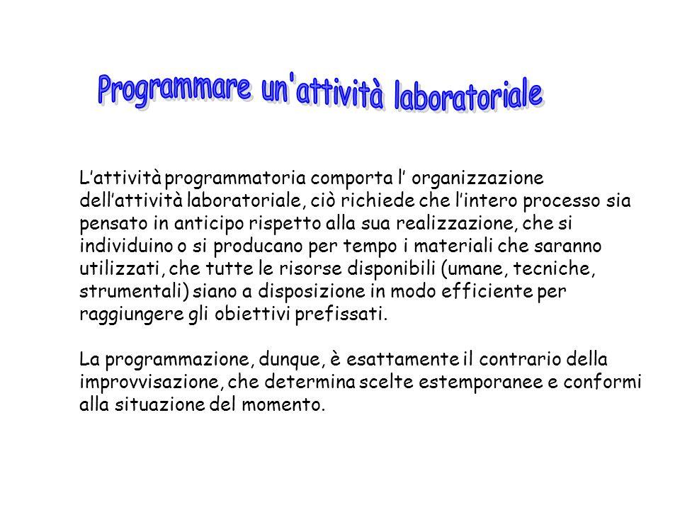 Programmare un attività laboratoriale
