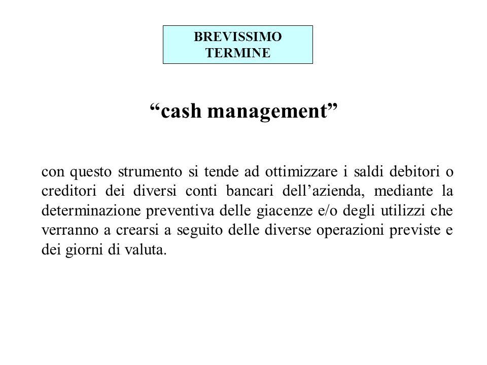 BREVISSIMO TERMINE cash management