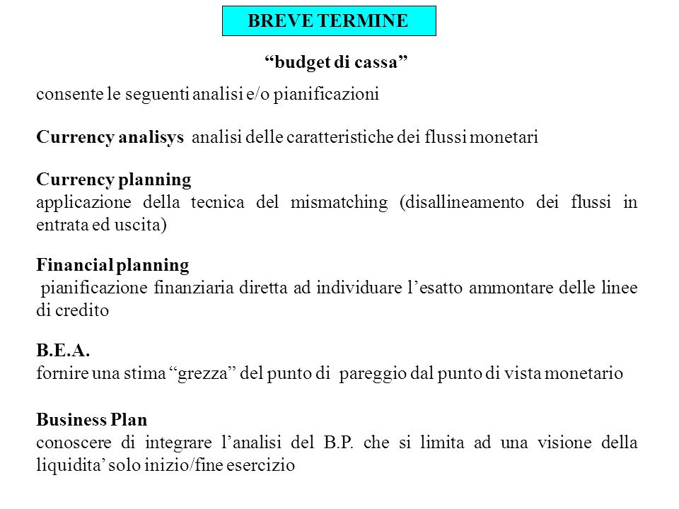 BREVE TERMINE budget di cassa consente le seguenti analisi e/o pianificazioni.