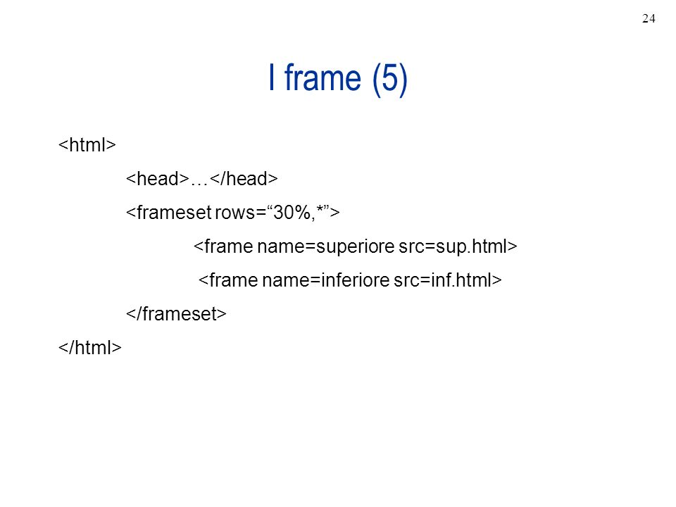 I frame (5) <html> <head>…</head>