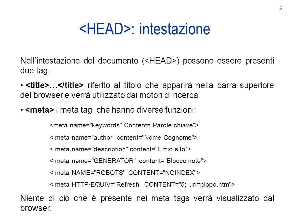 <HEAD>: intestazione