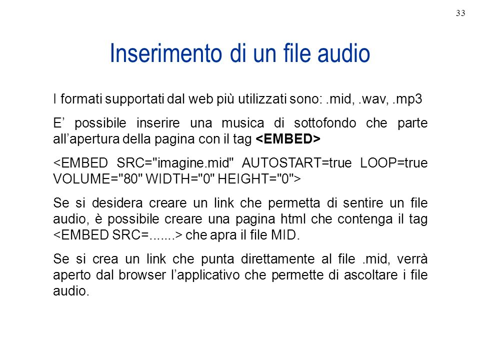 Inserimento di un file audio