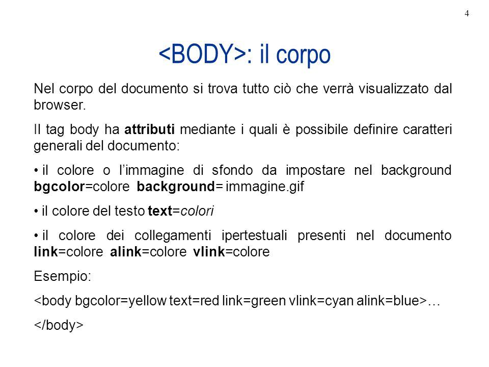 <BODY>: il corpo