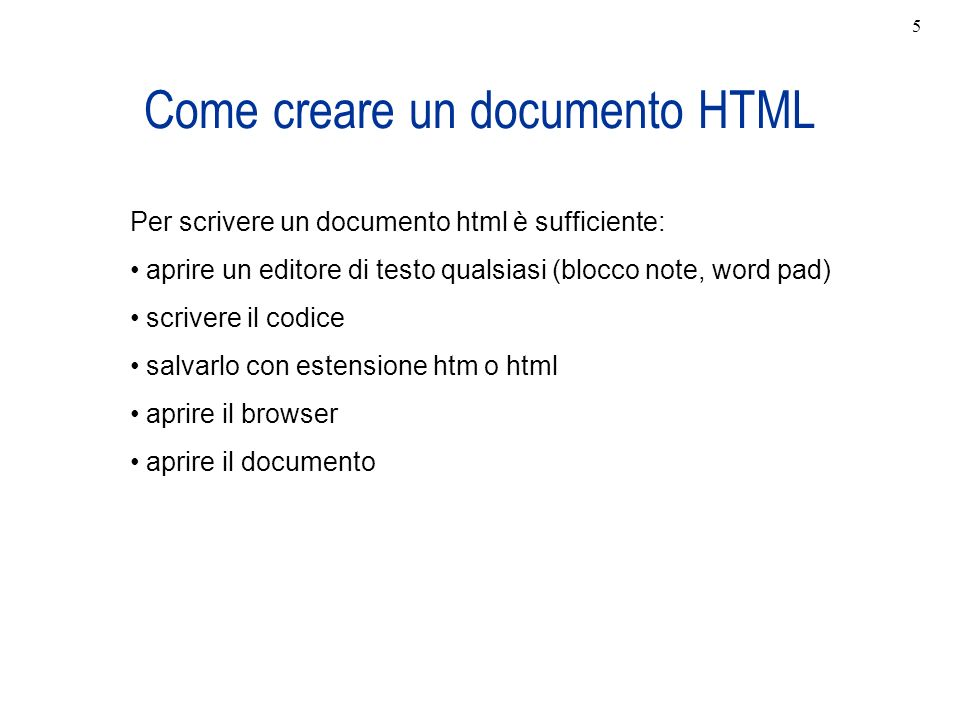 Come creare un documento HTML