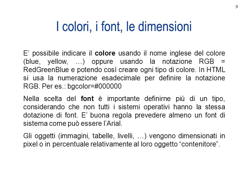 I colori, i font, le dimensioni