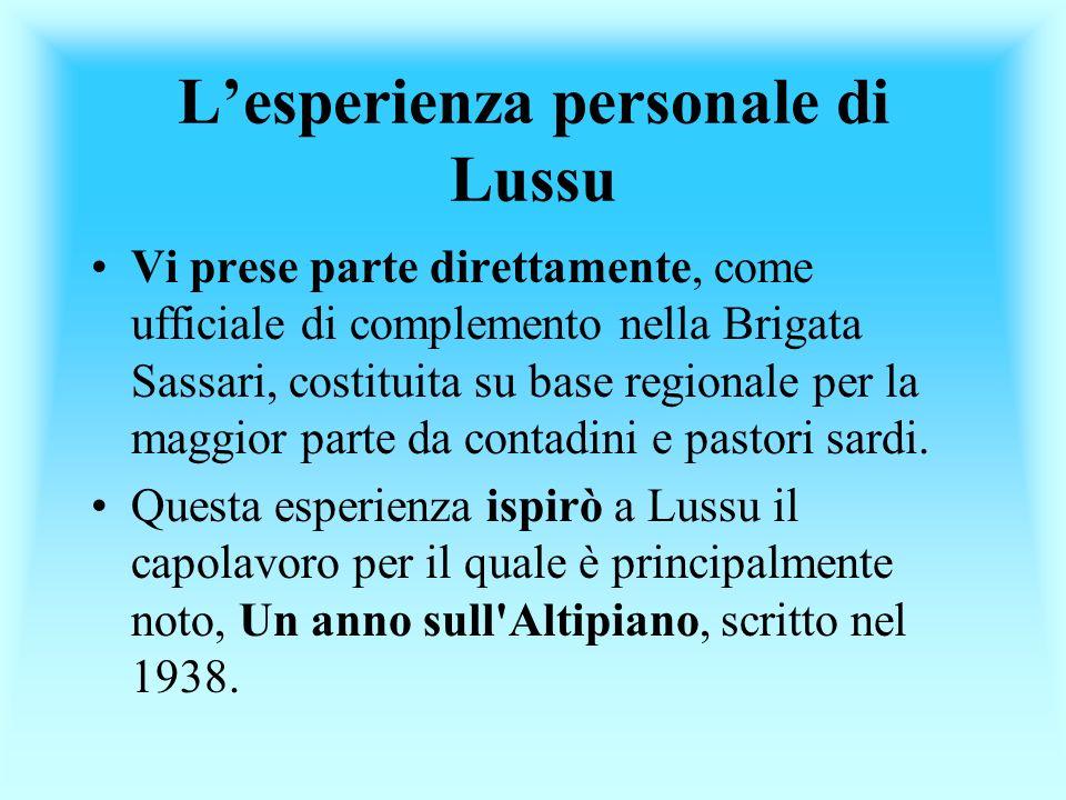 L'esperienza personale di Lussu