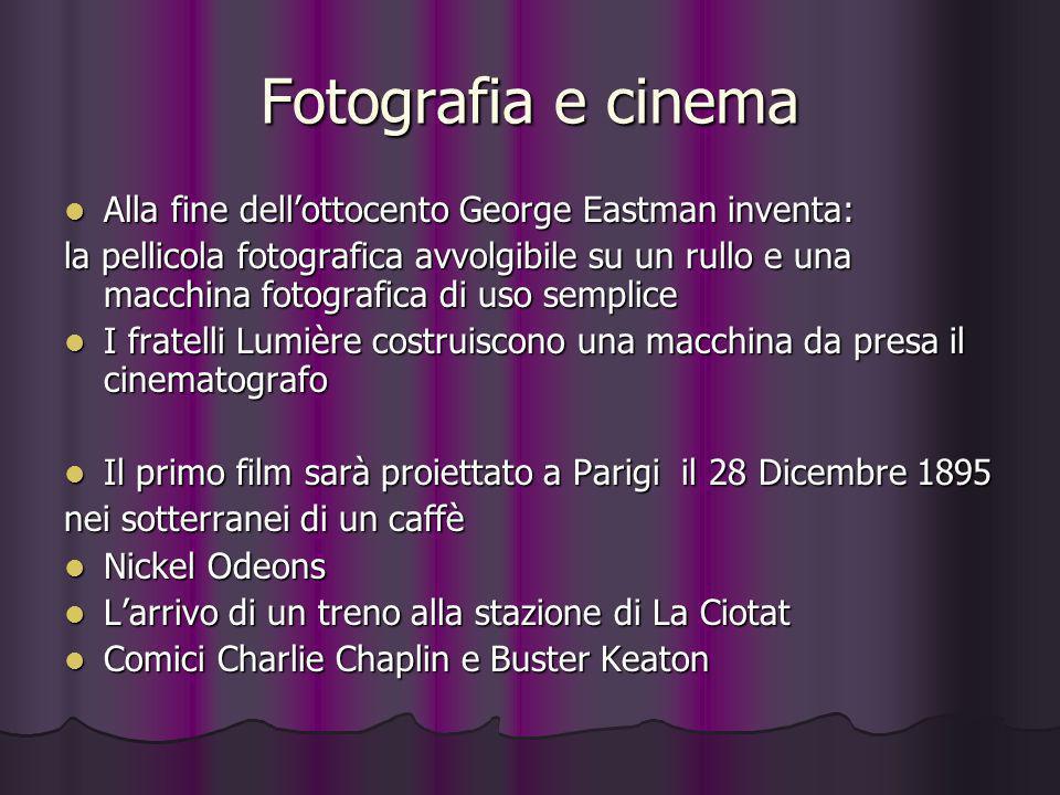 Fotografia e cinema Alla fine dell'ottocento George Eastman inventa: