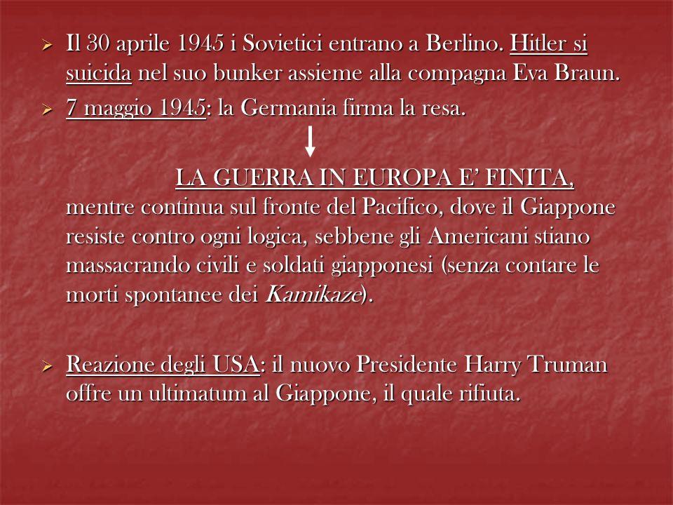 Il 30 aprile 1945 i Sovietici entrano a Berlino