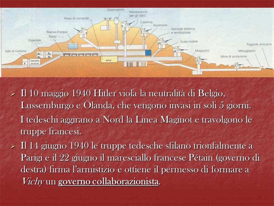 Il 10 maggio 1940 Hitler viola la neutralità di Belgio, Lussemburgo e Olanda, che vengono invasi in soli 5 giorni.