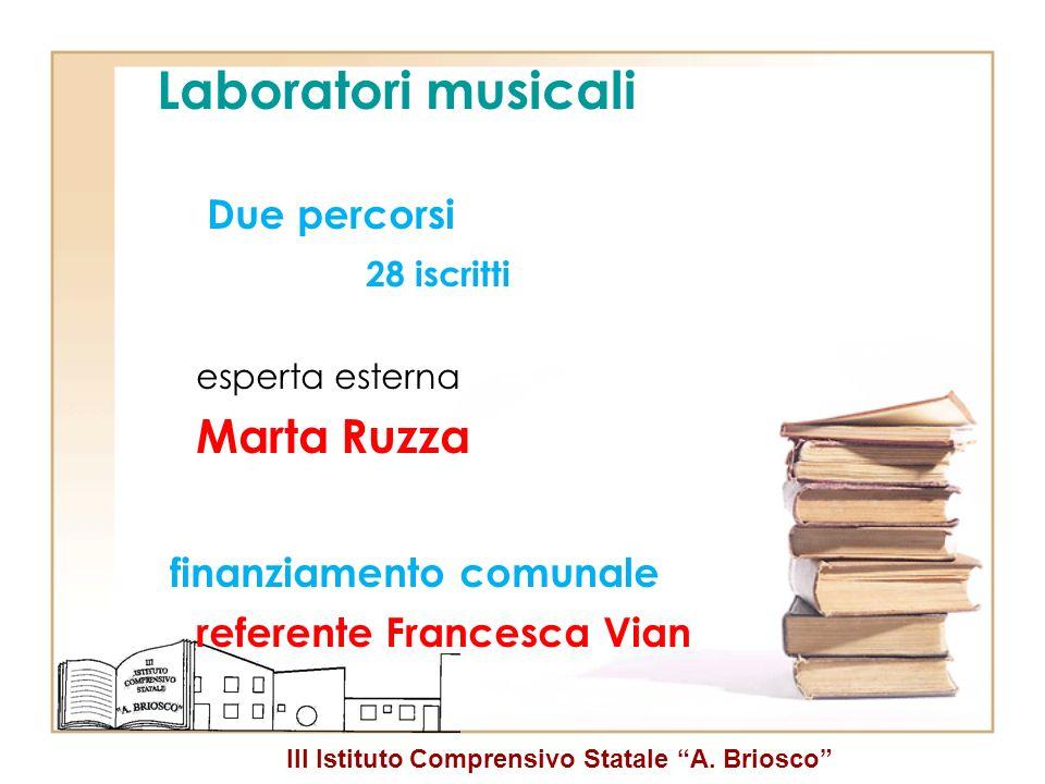 Laboratori musicali Marta Ruzza finanziamento comunale 28 iscritti