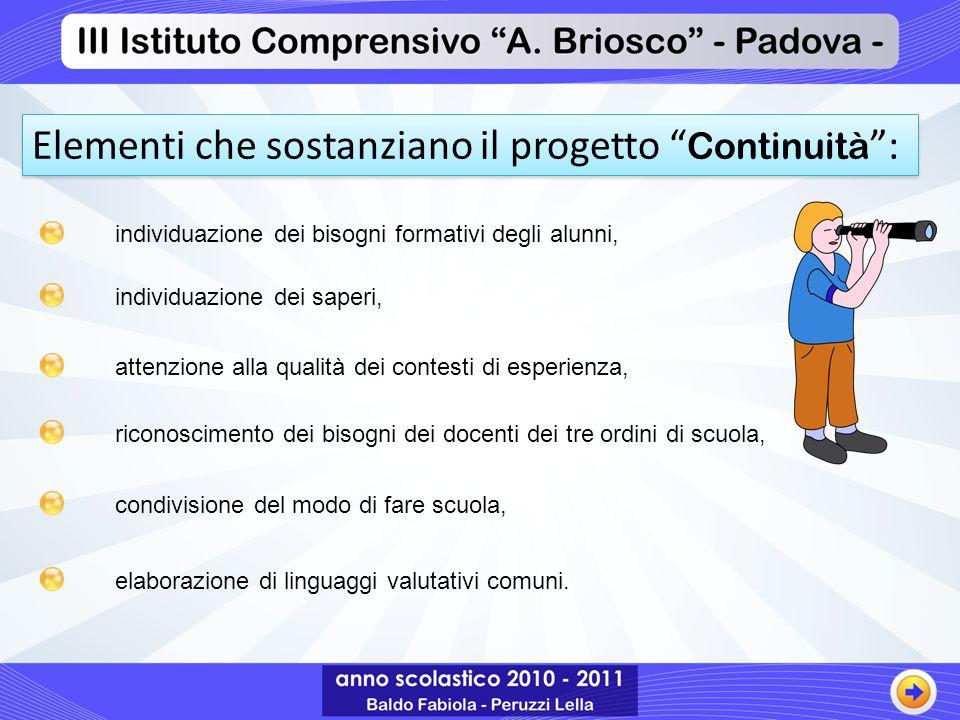 Elementi che sostanziano il progetto Continuità :
