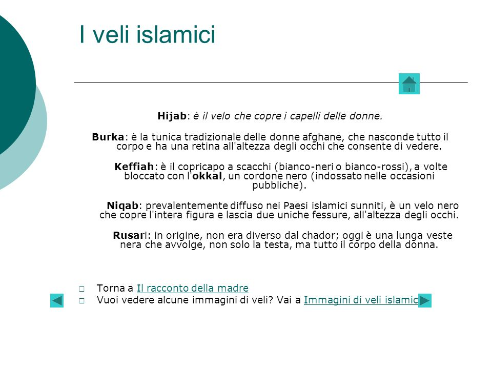 Hijab: è il velo che copre i capelli delle donne.