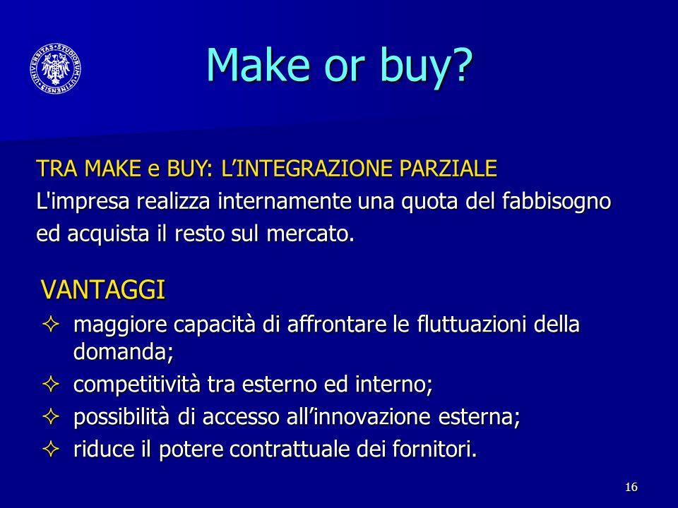 Make or buy VANTAGGI TRA MAKE e BUY: L'INTEGRAZIONE PARZIALE